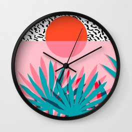 Whoa - palm sunrise southwest california palm beach sun city los angeles retro palm springs resort  Wall Clock