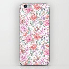 Vintage pink coral pastel green elegant chic floral iPhone Skin