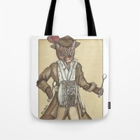 drum Tote Bags featuring Drum Cat by Felis Simha