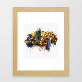 Oldtimer Automobile Watercolor Painting Framed Art Print