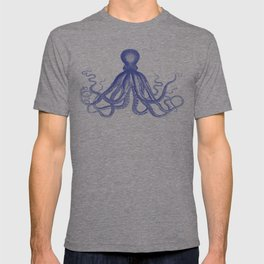 Octopus | Vintage Octopus | Tentacles | Navy Blue and White | T-shirt