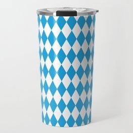Oktoberfest Bavarian Blue and White Large Diagonal Diamond Pattern Travel Mug