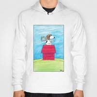 snoopy Hoodies featuring pilot Snoopy by DROIDMONKEY