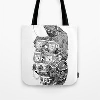 hipster Tote Bags featuring hipster by Jess John