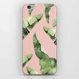 Banana Leaves 2 Green And Pink iPhone Skin