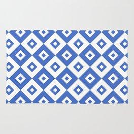 Diamond Check Pattern Blue Rug