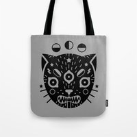 black cat Tote Bags featuring BLACK CAT by LordofMasks