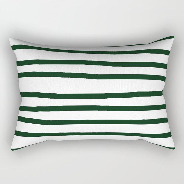 Simply Drawn Stripes in Pine Green Rectangular Pillow