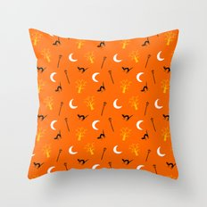 Halloween Night-Orange Throw Pillow