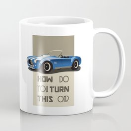 The Classic Game Cheat Code: How do you turn this on Funny Blue Cobra Car Coffee Mug