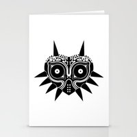 majoras mask Stationery Cards featuring Majoras Mask by Tom Milburn