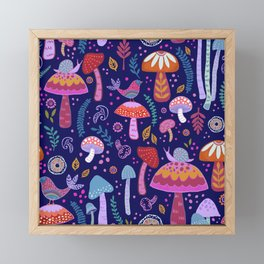 Magical Mushrooms on navy Framed Mini Art Print