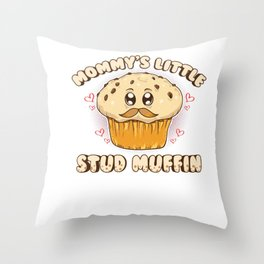 Adorable Mommy's Little Stud Muffin Young Son Pun Throw Pillow