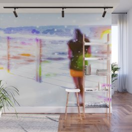 standing alone at the beach with summer bokeh light Wall Mural