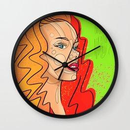 Fashion portrait sketch girl Wall Clock