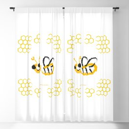 Happy bee Blackout Curtain