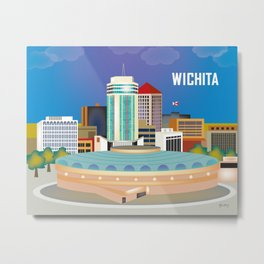 Wichita, Kansas - Skyline Illustration by Loose Petals Metal Print