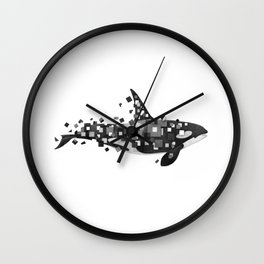 Fractured Killer Whale (mono) Wall Clock