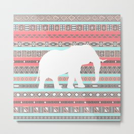Elephant Aztec Pattern Pastel Peach Aqua Print Metal Print