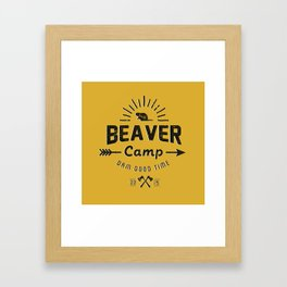 Beaver Camp: Dam Good Time (Black Text) Framed Art Print