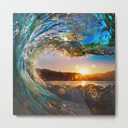 Beach - Waves - Ocean - Sun   Metal Print