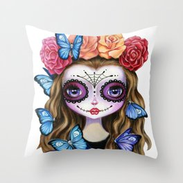 Sugar Skull Gil with Flower Crown and Butterflies Throw Pillow