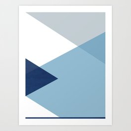 Geometrics - blues & concrete Art Print
