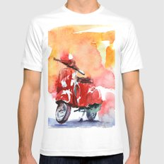 Scooter MEDIUM White Mens Fitted Tee