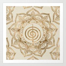 Cho Ku Rei - pastel gold lotus mandala Art Print