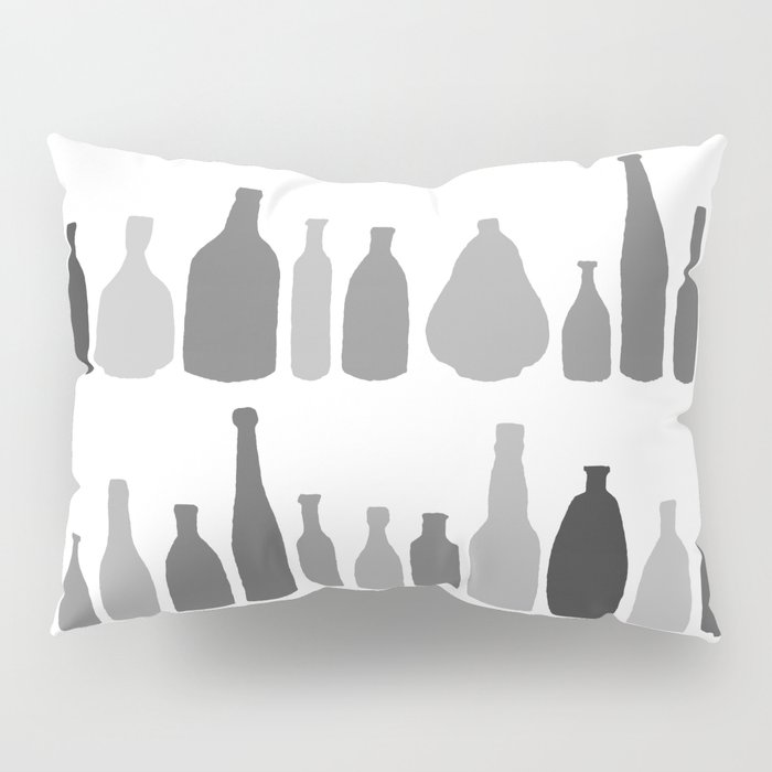 Bottles Black and White on White Pillow Sham