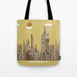 Detroit skyline vintage  Tote Bag