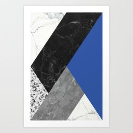 Black and White Marbles and Pantone Lapis Blue Color Art Print