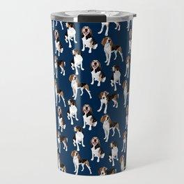 Treeing Walker Coonhounds on Navy Travel Mug