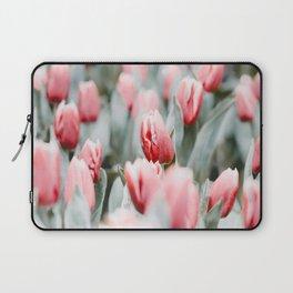 Pink Tulip Bulbs In A Field Green Leaves Laptop Sleeve