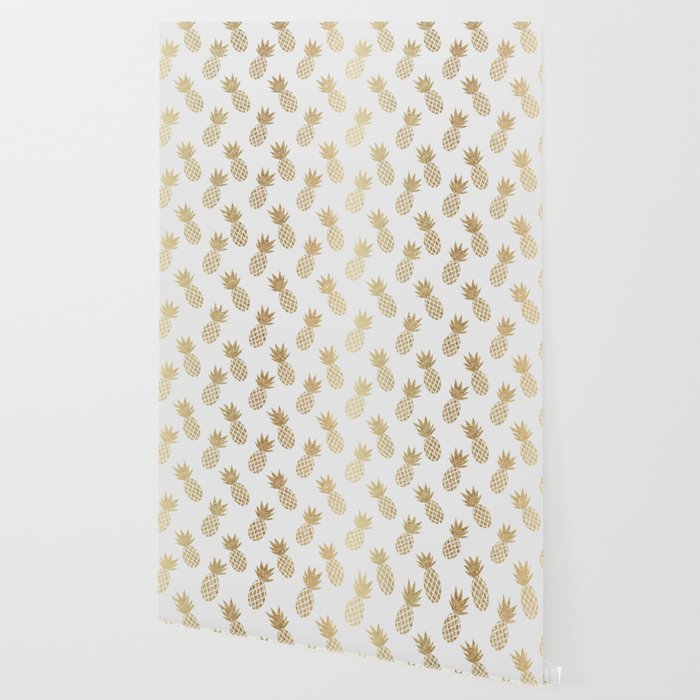 Gold Pineapple Pattern Wallpaper