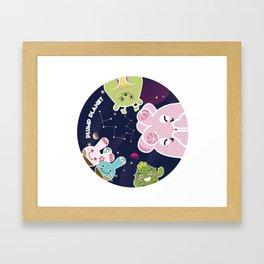 Plump Planet in Galaxy Framed Art Print