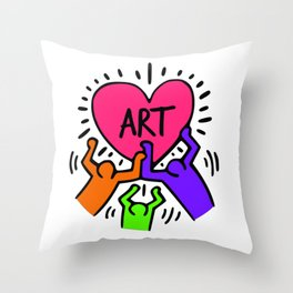 "Keith Haring inspired ""I Love Art"" Secondary Colors edition Throw Pillow"
