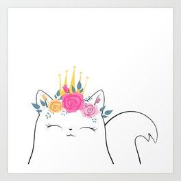 Flower Crown Cat Art Print