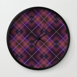 Black and Burgundy plaid Wall Clock