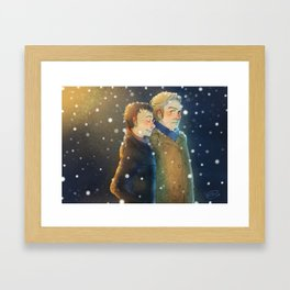 Snow Stroll Framed Art Print