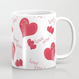 Abstract pattern with red hearts on a white background Coffee Mug