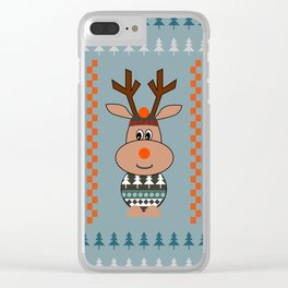 Reindeer and bears- winter decor Clear iPhone Case