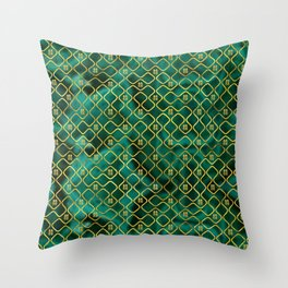 Gold Chinese Double Happiness Symbol pattern on malachite Throw Pillow