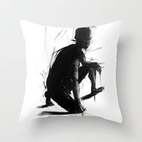 knight Throw Pillows featuring Knight by t-edition