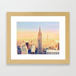 New York City Sunset Glow Framed Art Print