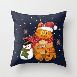 Santa cat eating Fish burger Throw Pillow