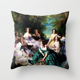 """Franz Xaver Winterhalter's masterpiece """"The Empress Eugenie surrounded by her Ladies in waiting"""" Throw Pillow"""