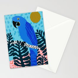 Steaz - memphis throwback tropical retro minimal bird art 1980s 80s style pattern parrot fashion Stationery Cards