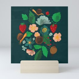 Strawberry salad garden party with the snails in blue Mini Art Print