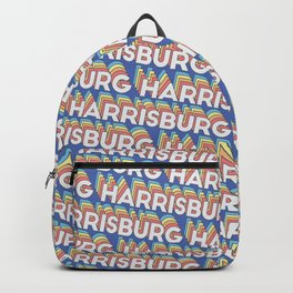 Harrisburg Illinois Trendy Rainbow Text Pattern (Blue) Backpack